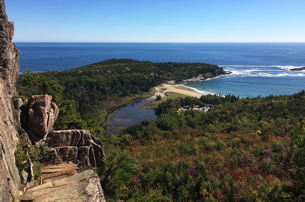 A view of sand beach from beehive trail while hiking Acadia National Park