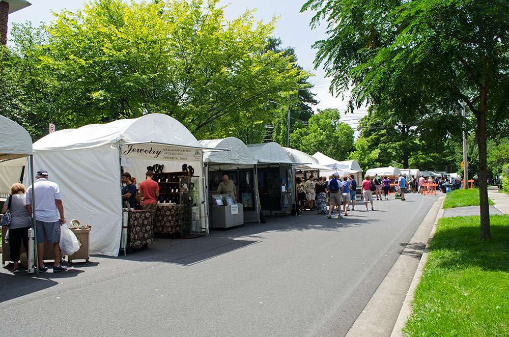 Artist Tents lining the streets at the Central Pennsylvania Arts Festival