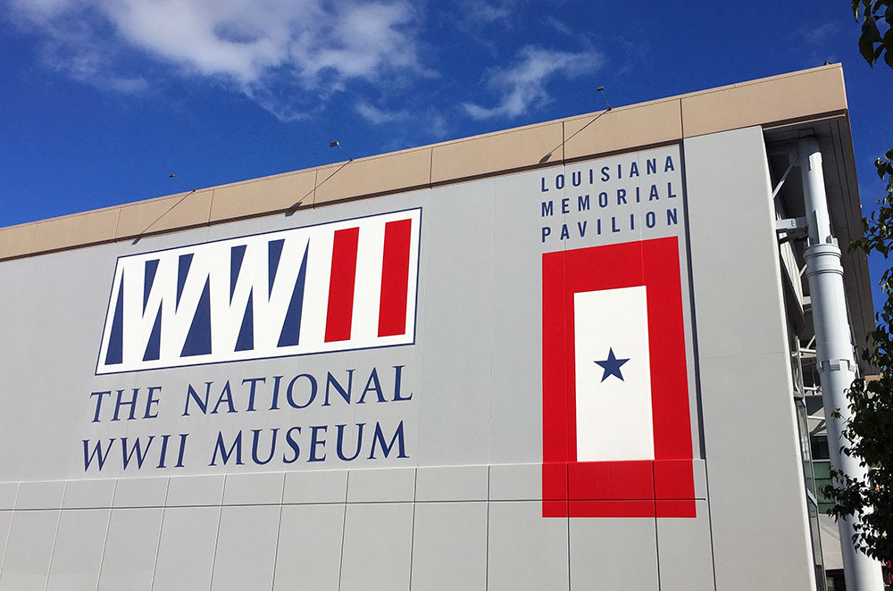 Outside of the National WWII Museum in New Orleans Louisiana