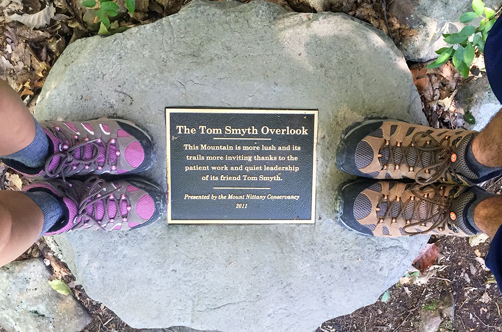 The Tom Smyth Overlook plaque on Mount Nittany in State College Pennsylvania
