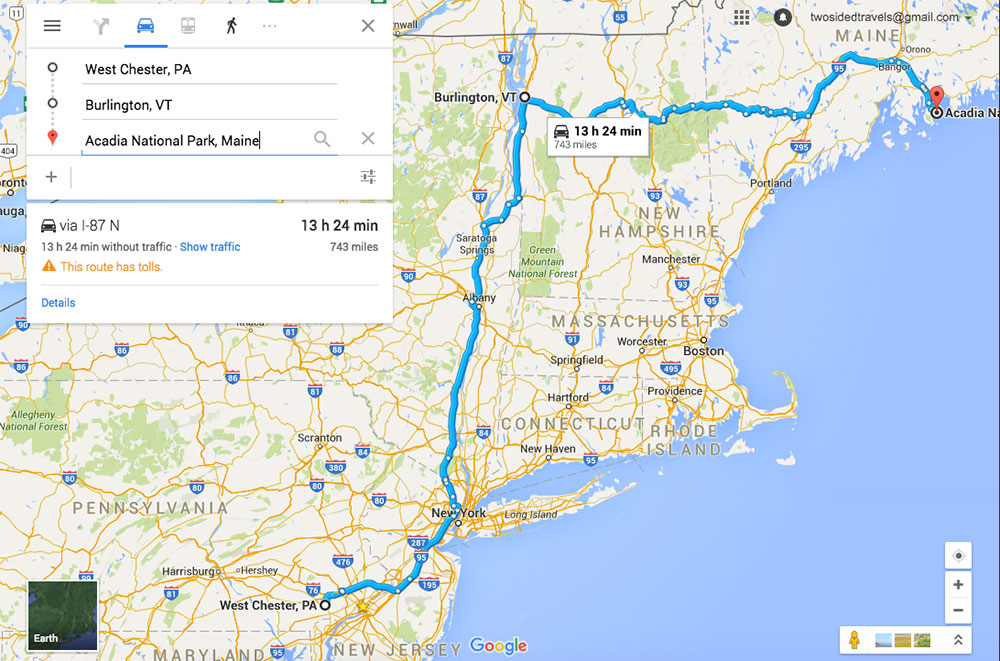 A map from West Chester to Burlington Vermont to Acadia National Park