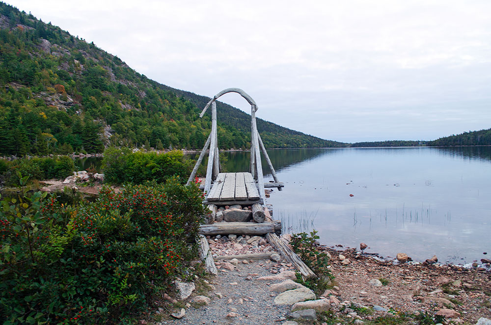 A wooden bridge on the path around Jordan Pond in Acadia National Park