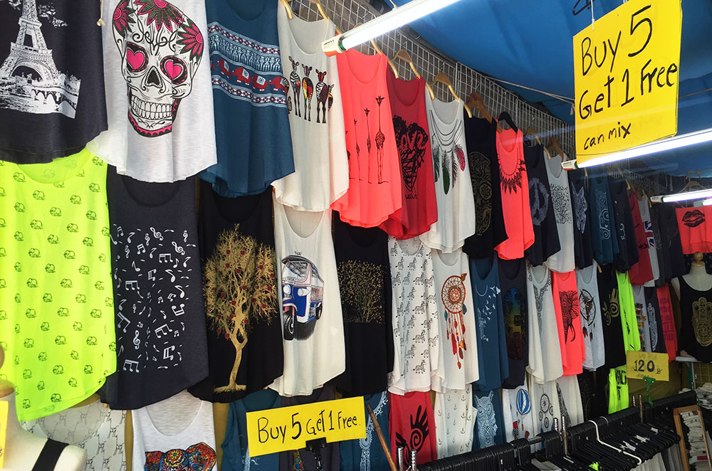 On the second of our three days in Bangkok we bought new tank tops at the Chatuchak Weekend Market