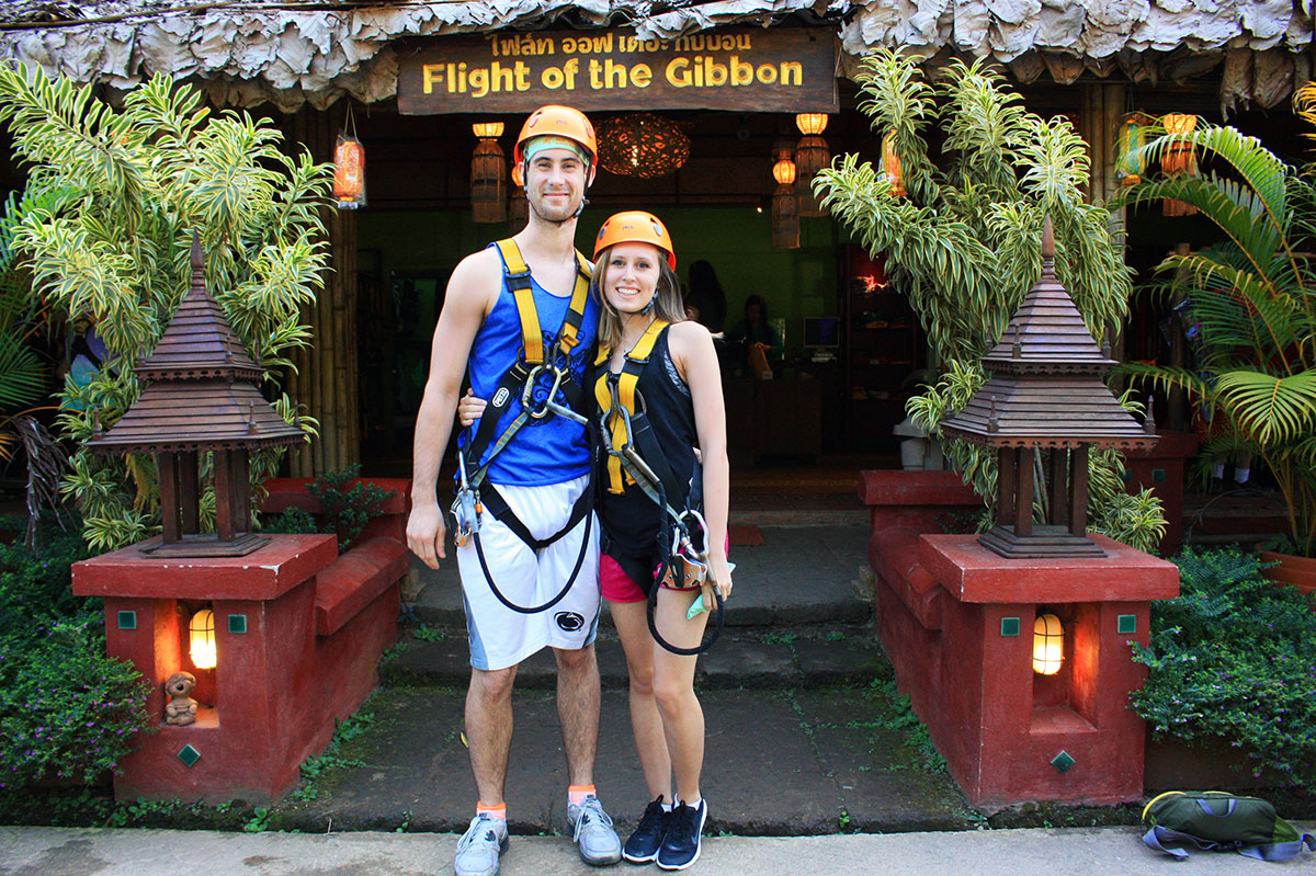 A quick photo after getting harnesses on at Flight of the Gibbon Chiang Mai