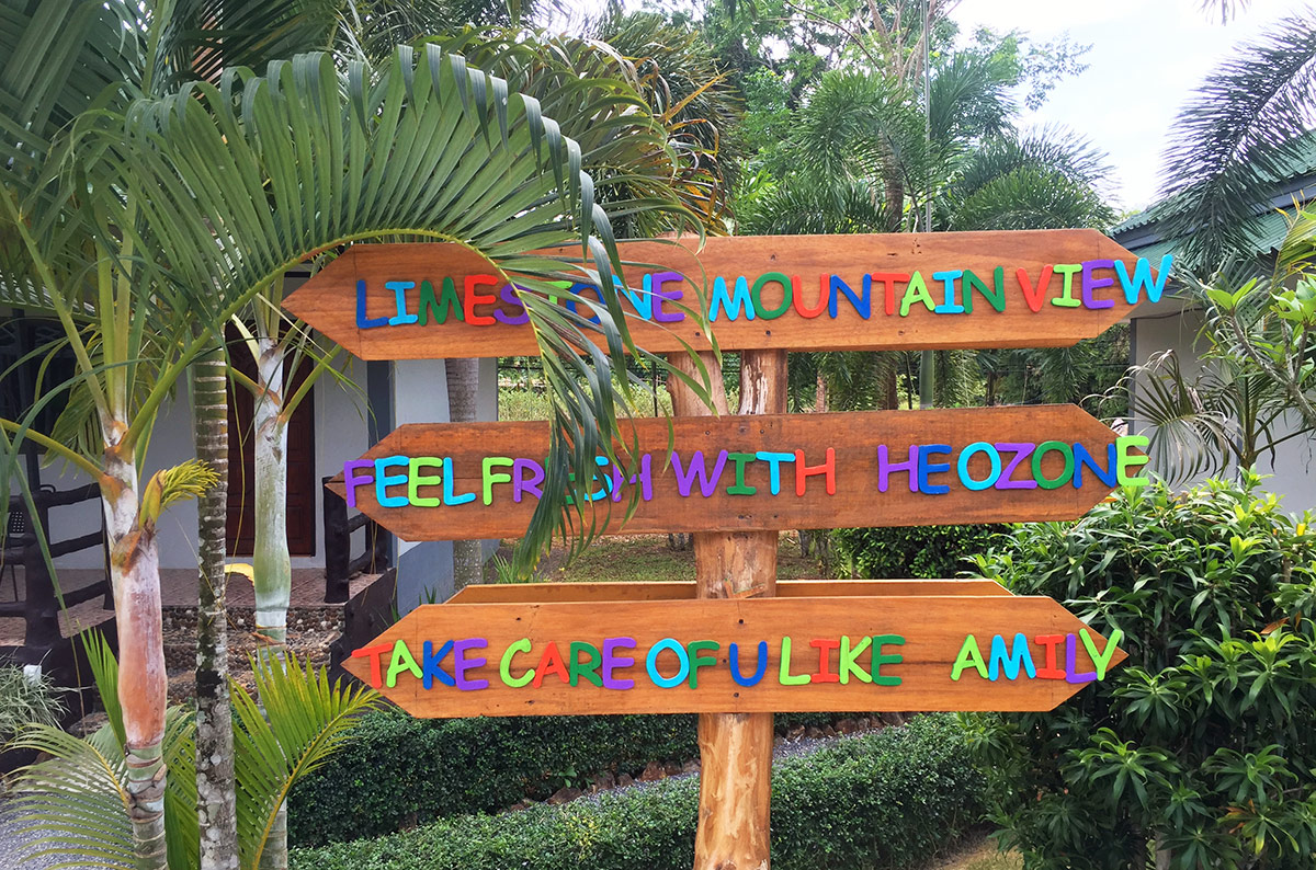 A cute directional sign at Anonang Bunk Resort in Ao Nang Thailand