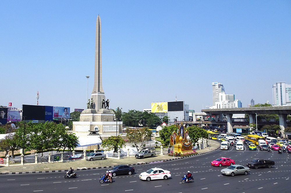 The Victory Monument in the Ratchathewi District of Bangkok