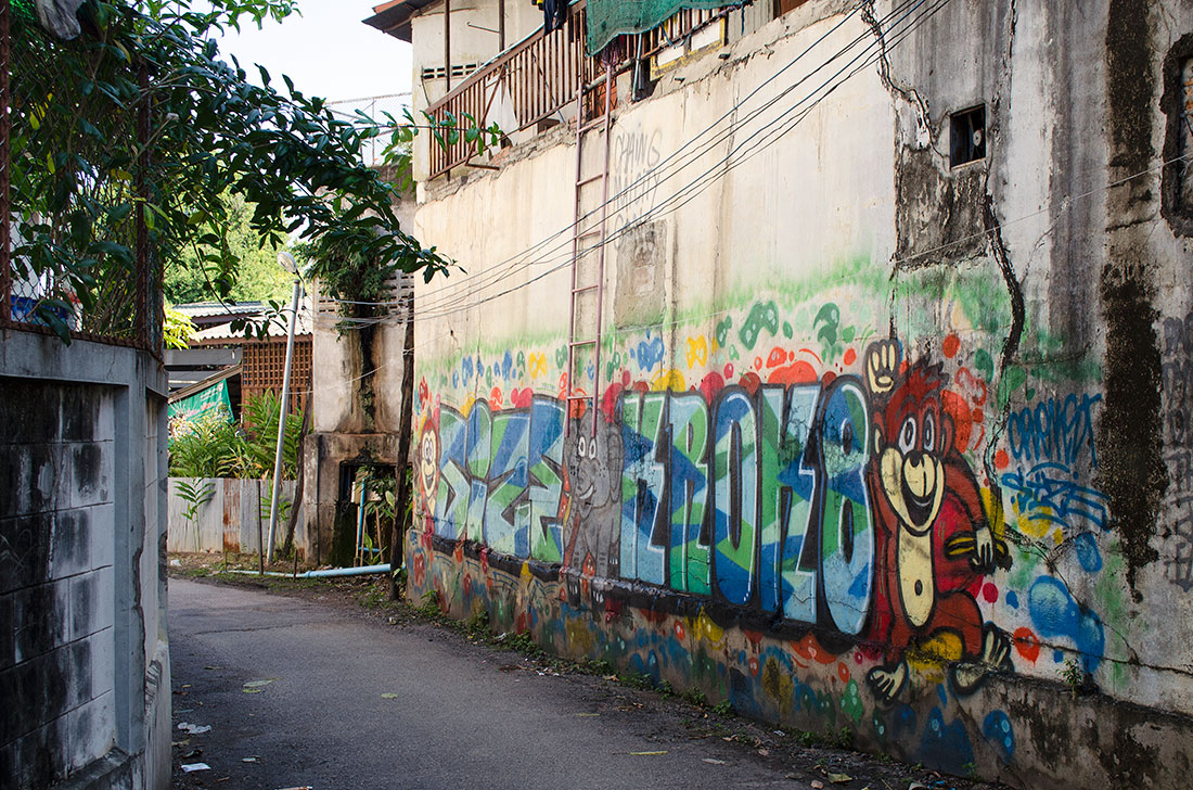Graffiti on a street in Chiang Mai Thailand