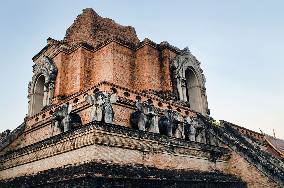 Restored elephant statues on Wat Chedi Luang in Chiang Mai