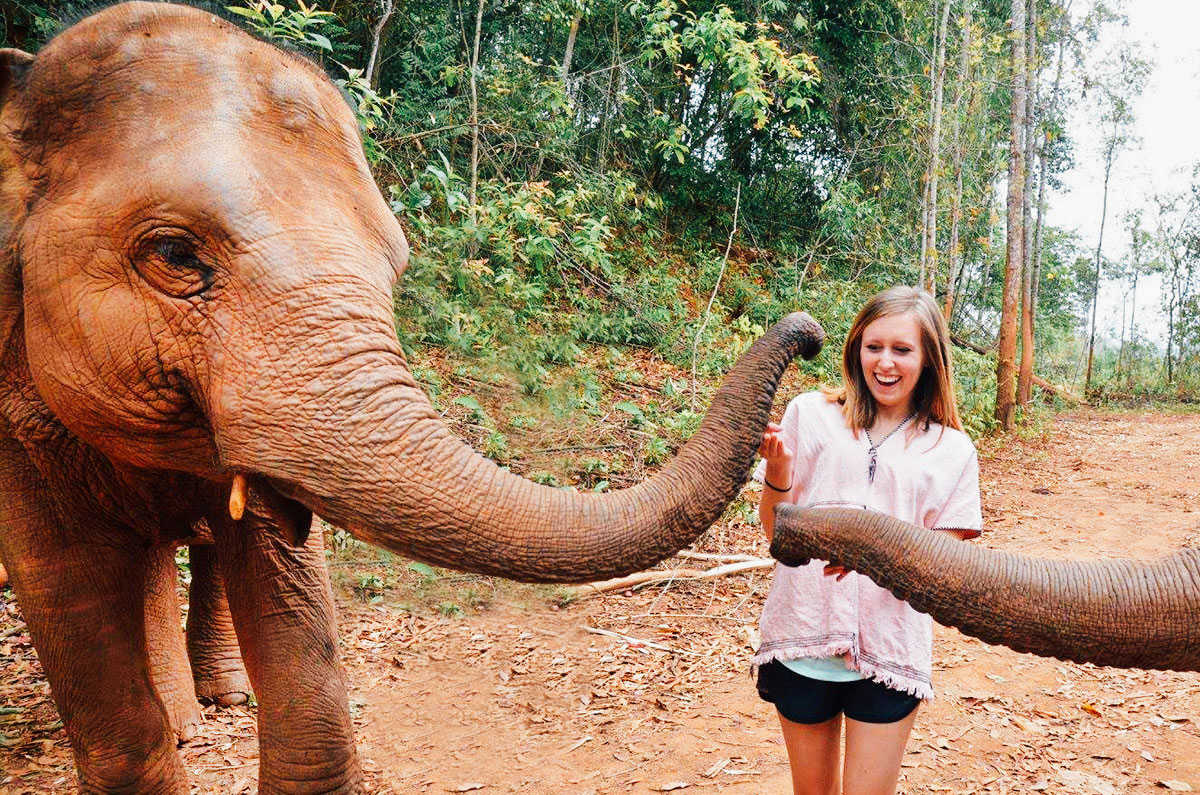 A girl about to be kissed by an elephant trunk at an elephant sanctuary near Chiang Mai Thailand