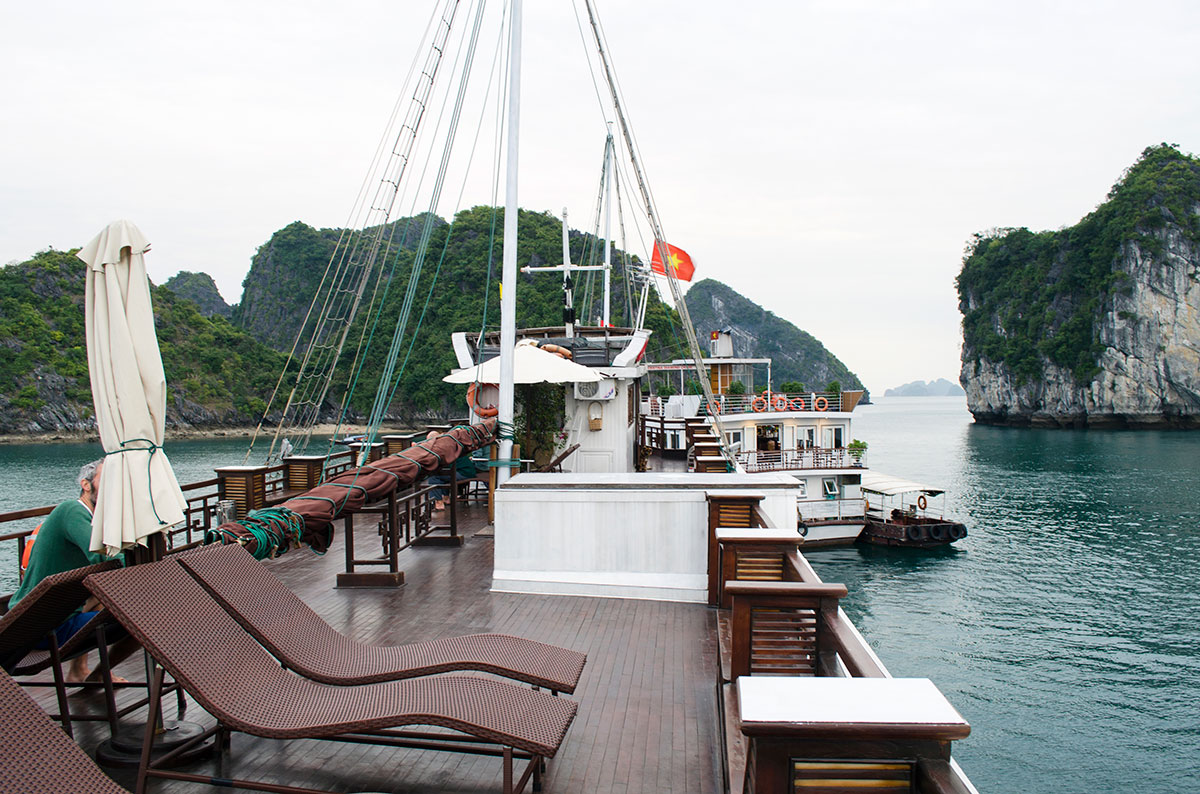 The top deck of the Oriental Sails Calypso Cruiser