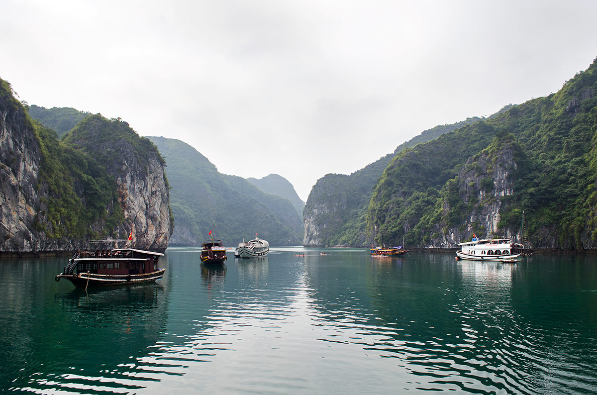 Five ships docked in Halong Bay Vietnam