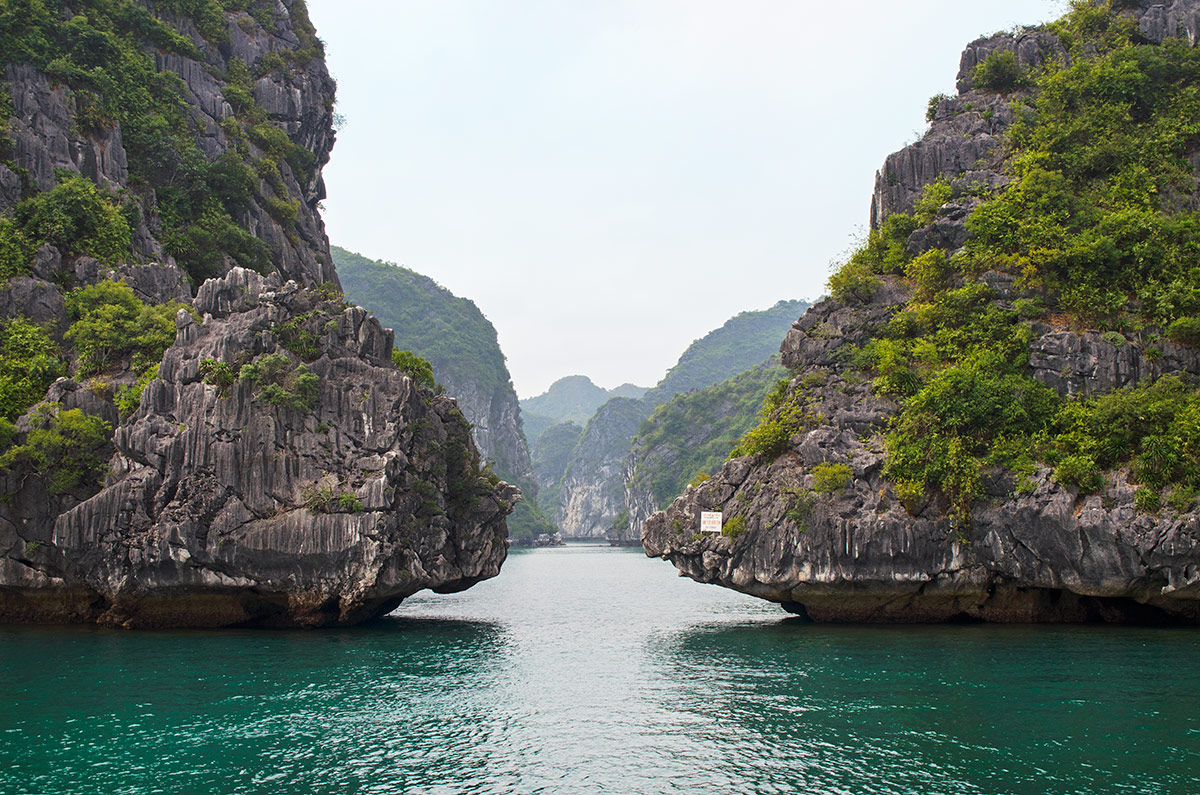 An opening between two close islands in Halong Bay Vietnam