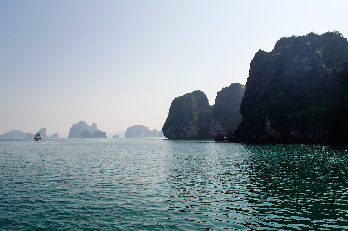 Limestone Islands in the distance of Halong Bay