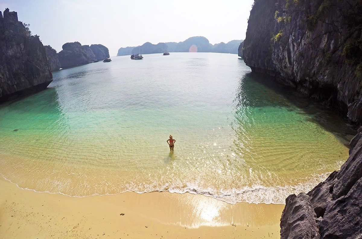 A wide angle view of Three Peaches Beach in Halong Bay