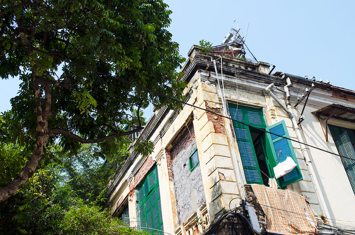 A balcony on a building in the old quarter of Hanoi