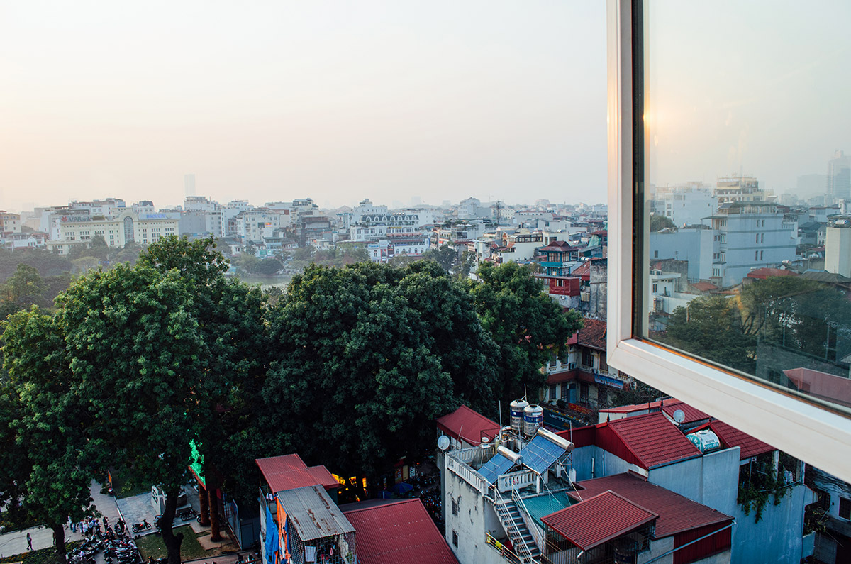 The view from our room at Golden Time Hostel 2 in Hanoi Vietnam