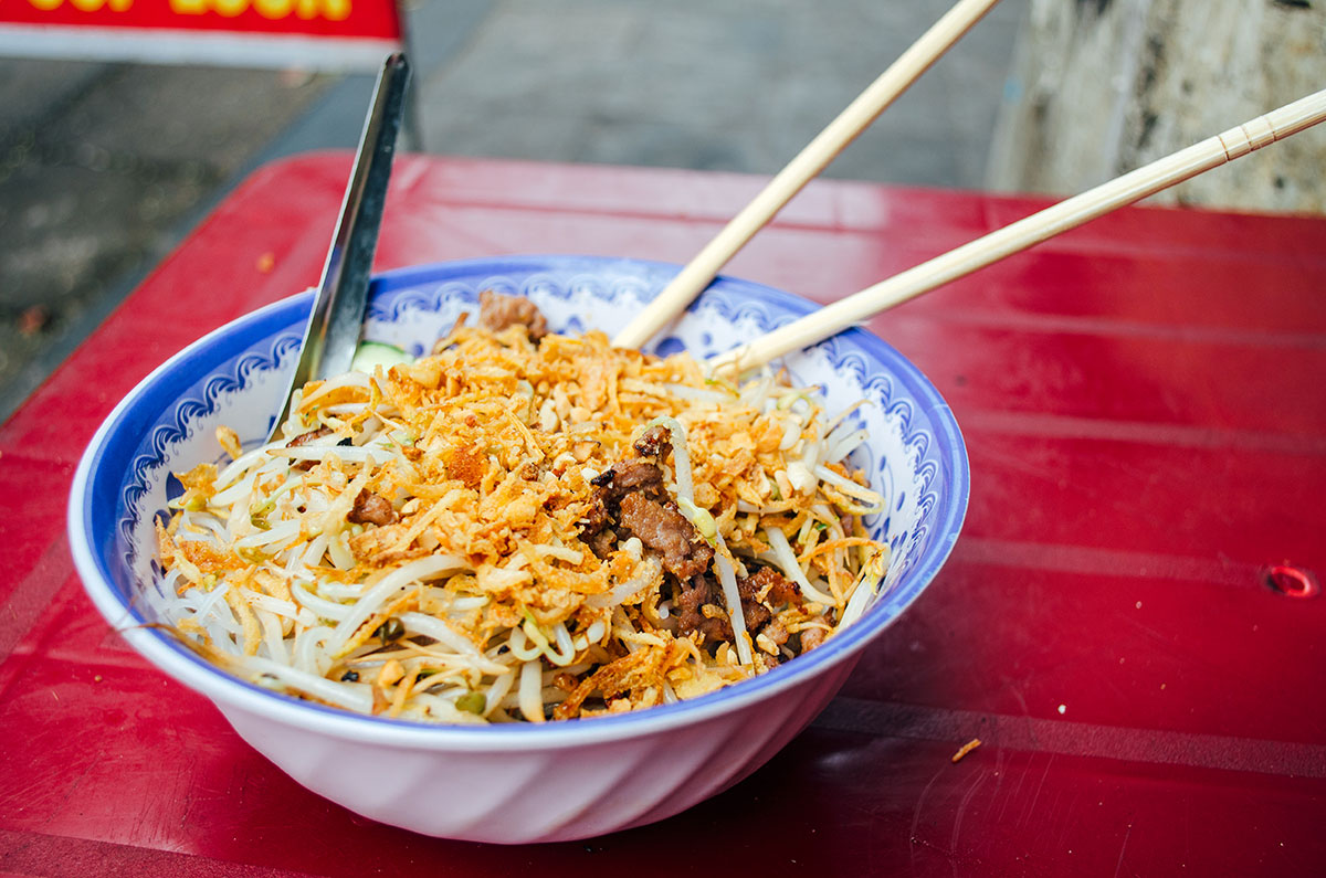 A bowl of noodles bought on the streets of Hanoi Vietnam