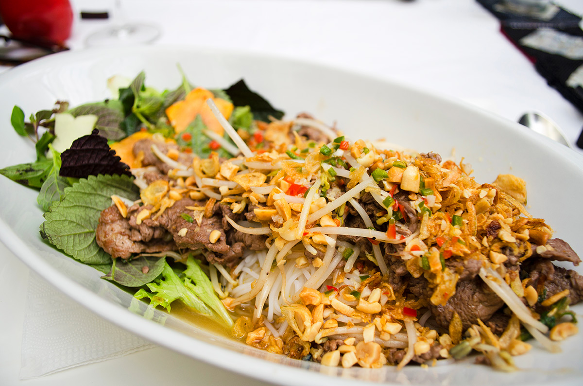 A delicious Vietnamese beef noodle dish at Green Mango in Hanoi