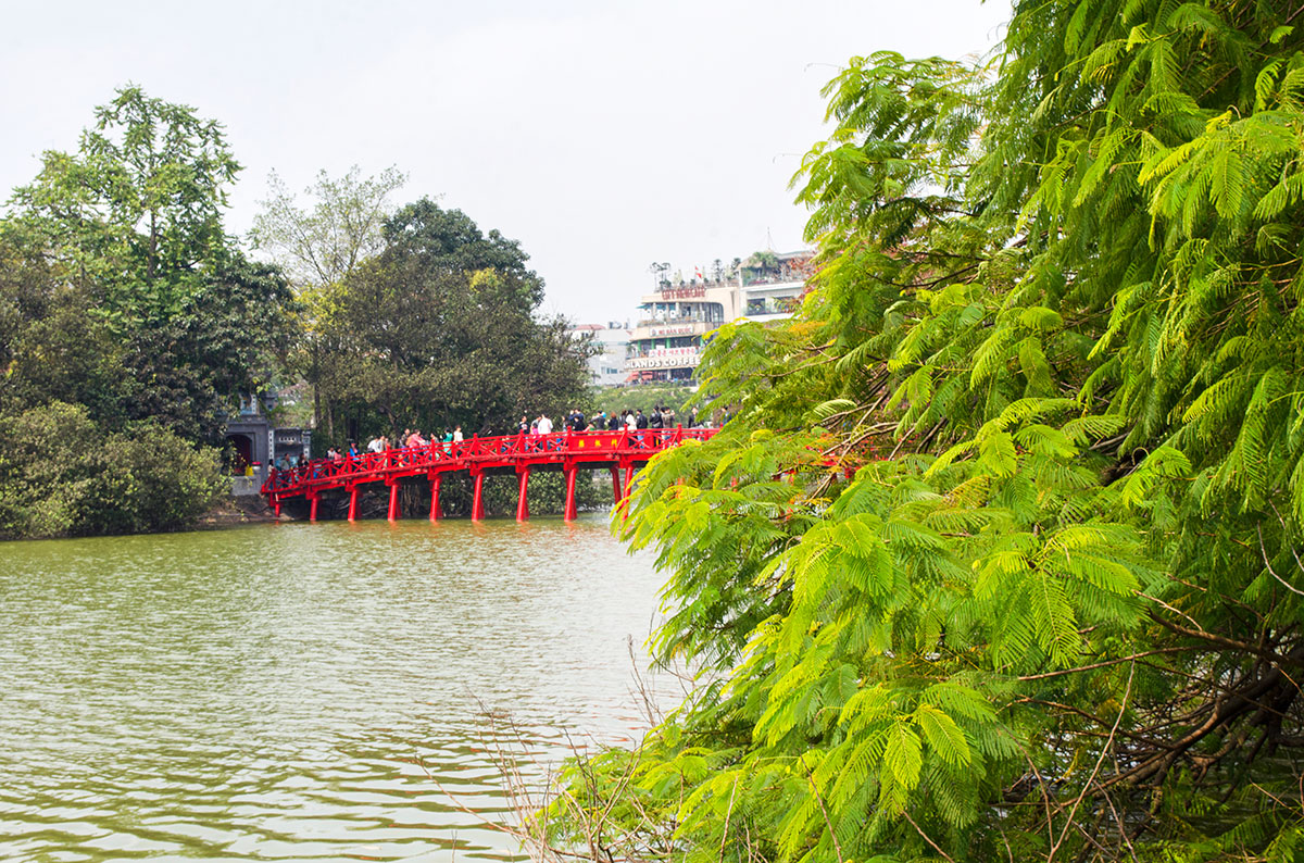 A red bridge leading to the temple on lake hoan kiem in Hanoi