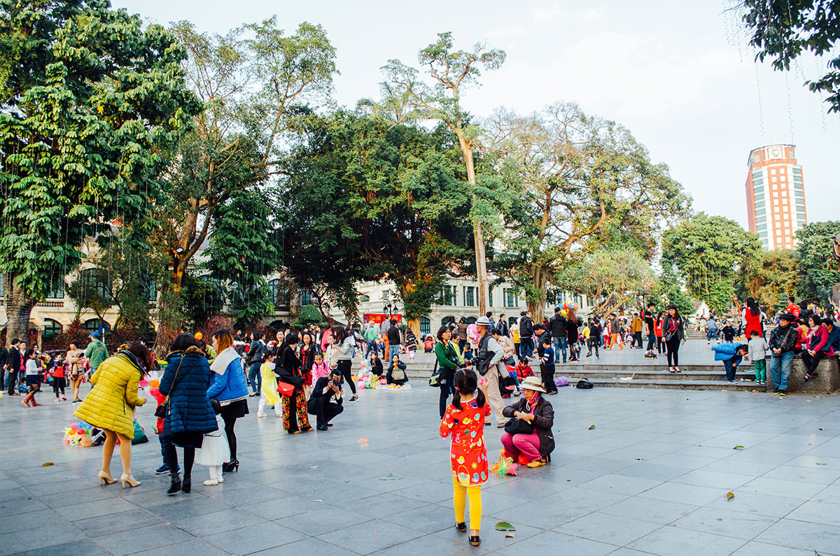 A park in the old quarter of Hanoi Vietnam