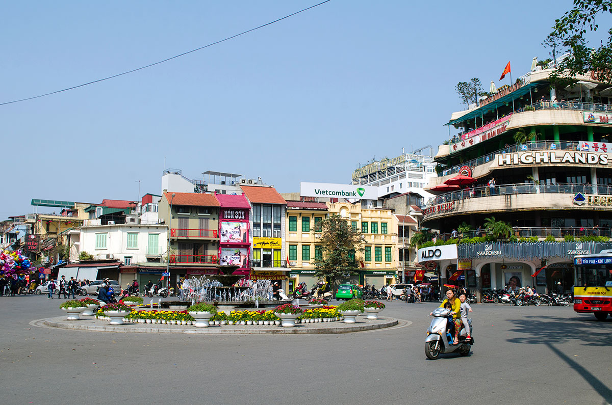 A traffic circle in the old quarter of Hanoi Vietnam