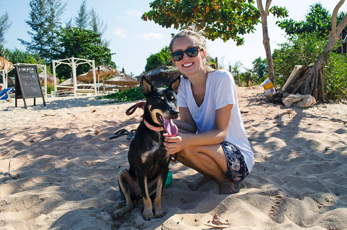A girl sitting with a dog from Lanta Animal Welfare at the beach in Koh Lanta Thailand