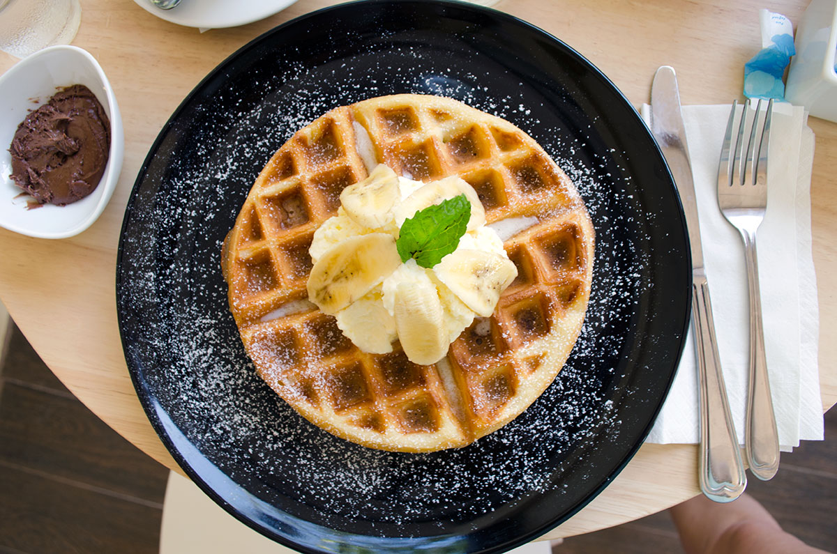 A waffle with Nutella at Fruit Tree Lodge and Cafe in Koh Lanta Thailand
