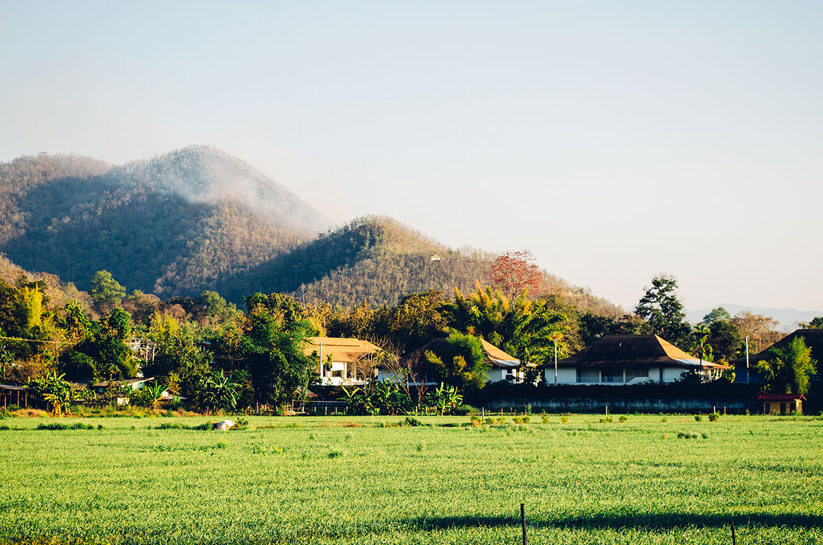 A scenic view of the mountains surrounding Pai Thailand