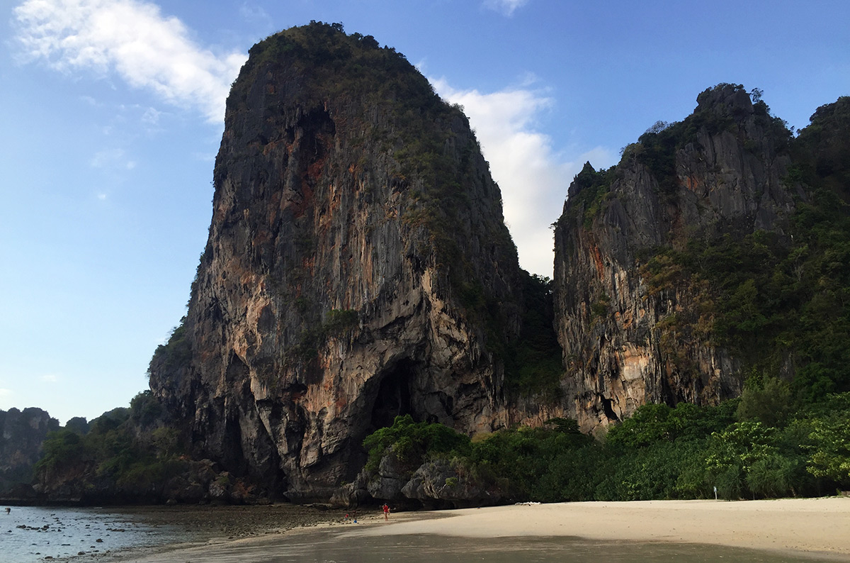 Huge limestone mountains at Railay Beach in Thailand