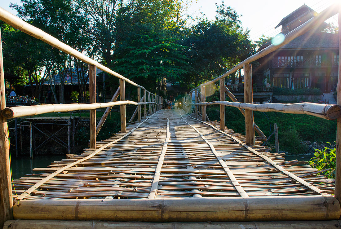 The famous bamboo bridge across the Pai river